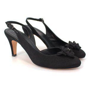 CHANEL Black Satin Embellished CC Bow Heels sz 37